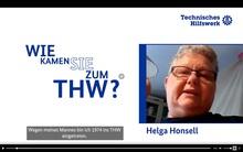 """Auf einem weißen Hintergrund steht auf der linken Seite des Bildes in blauer Schrift die Frage """"Wie kamen Sie zum THW"""". Auf der rechten Seite des Bildes ist ein Bild von Helga Honsell zu sehen."""